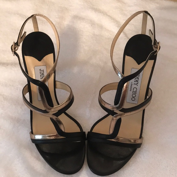 jimmy choo black and gold shoes